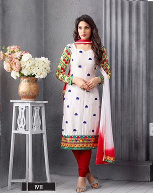 NEW ARRIVAL WHITE STRAIGHT SUIT @ Rs1606.00