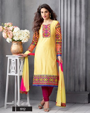 NEW ARRIVAL YELLOW STRAIGHT SUIT @ Rs1606.00
