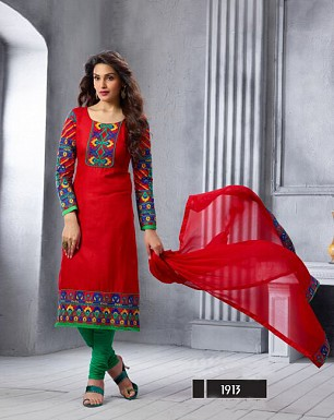 NEW ARRIVAL RED STRAIGHT SUIT @ Rs1606.00
