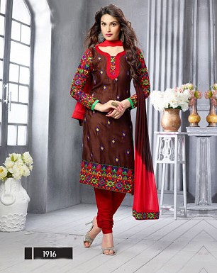 NEW ARRIVAL BROWN STRAIGHT SUIT @ Rs1606.00