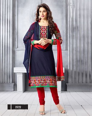 NEW ARRIVAL NAVY BLUE STRAIGHT SUIT @ Rs1606.00