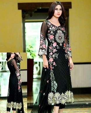 LATEST BLACK DESIGNER LONG SLEEVE STRAIGHT SUIT @ Rs1791.00