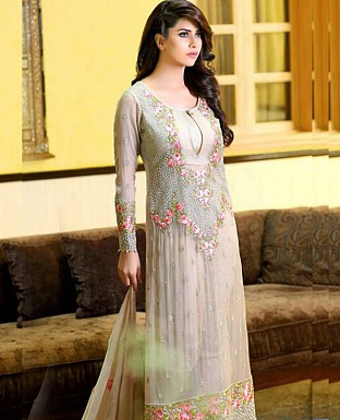 LATEST GREY DESIGNER LONG SLEEVE STRAIGHT SUIT @ Rs1791.00