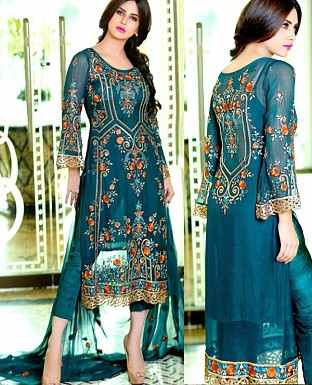 LATEST AQUA DESIGNER LONG SLEEVE STRAIGHT SUIT @ Rs1791.00