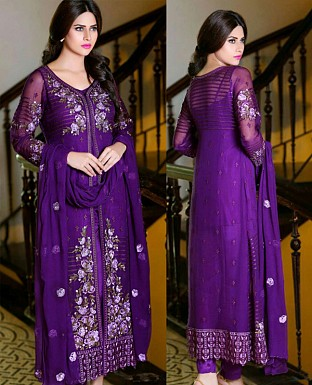 LATEST PURPLE DESIGNER LONG SLEEVE STRAIGHT SUIT @ Rs1791.00