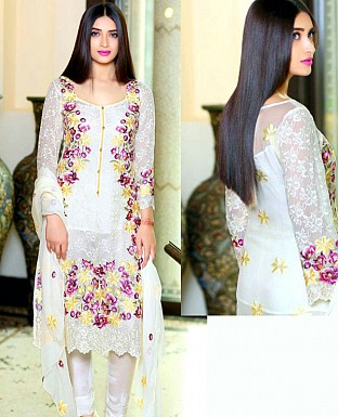 LATEST WHITE DESIGNER LONG SLEEVE STRAIGHT SUIT @ Rs1791.00