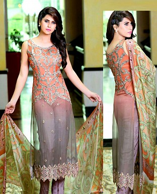 LATEST ORANGE & GREY DESIGNER LONG SLEEVE STRAIGHT SUIT @ Rs1791.00