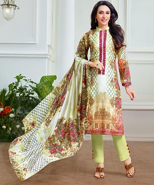 THANKAR LATEST CREAM COLOUR DESIGNER STRAIGHT SUIT @ Rs1915.00