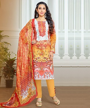THANKAR LATEST ORANGE COLOUR DESIGNER STRAIGHT SUIT @ Rs1915.00