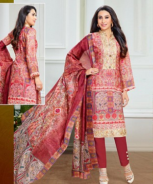 THANKAR LATEST MAROON COLOUR DESIGNER STRAIGHT SUIT @ Rs1915.00