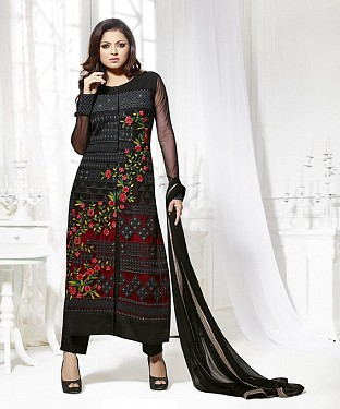 THANKAR LATEST BLACK DESIGNER LONG SLEEVE ANARKALI SUIT @ Rs1606.00