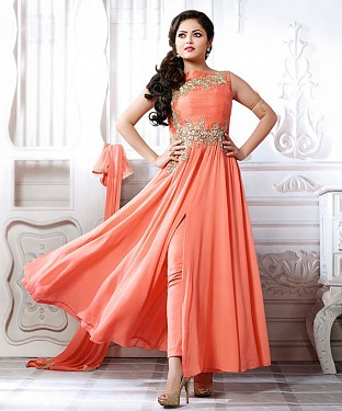 THANKAR LATEST PEACH DESIGNER LONG SLEEVE ANARKALI SUIT @ Rs1421.00