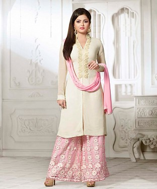 THANKAR LATEST WHITE AND PINK DESIGNER LONG SLEEVE ANARKALI SUIT @ Rs1791.00