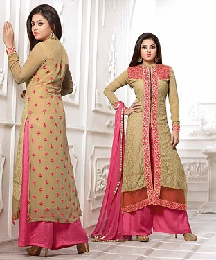 THANKAR LATEST BEIGE AND PINK DESIGNER LONG SLEEVE PLAZO SUIT @ Rs1791.00