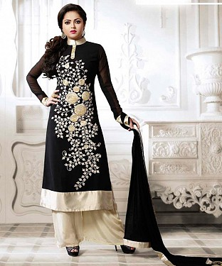THANKAR LATEST BLACK DESIGNER LONG SLEEVE ANARKALI SUIT @ Rs1421.00