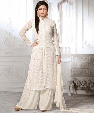 THANKAR LATEST WHITE DESIGNER LONG SLEEVE PLAZO SUIT @ Rs1791.00