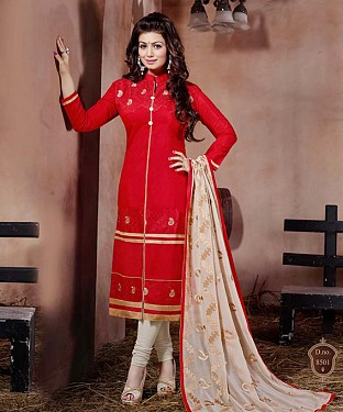 THANKAR RED AND WHITE LONG SLEEVE STRAIGHT SUIT @ Rs1235.00