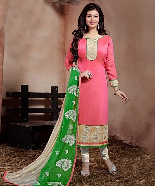 THANKAR PINK AND WHITE LONG SLEEVE STRAIGHT SUIT @ Rs1235.00