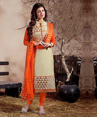 THANKAR CREAM AND ORANGE LONG SLEEVE STRAIGHT SUIT @ Rs1235.00