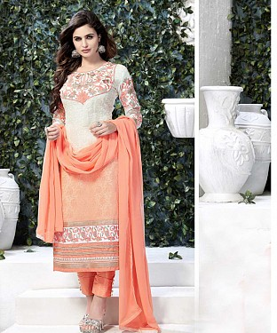 THANKAR WHITE AND ORANGE GORGETTE WITH SIPLI WORK STRAIGHT SUIT @ Rs1791.00