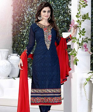 THANKAR NAVY AND RED GORGETTE WITH SIPLI WORK STRAIGHT SUIT @ Rs1791.00