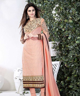 THANKAR PINK GORGETTE WITH SIPLI WORK STRAIGHT SUIT @ Rs1791.00