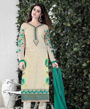 THANKAR CREAM AND GREEN GORGETTE WITH SIPLI WORK STRAIGHT SUIT @ Rs1791.00