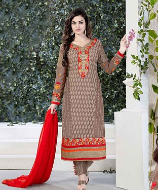 THANKAR LIGHT BROWN GORGETTE WITH SIPLI WORK STRAIGHT SUIT @ Rs1791.00