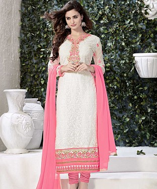THANKAR WHITE AND PEACH GORGETTE WITH SIPLI WORK STRAIGHT SUIT @ Rs1791.00
