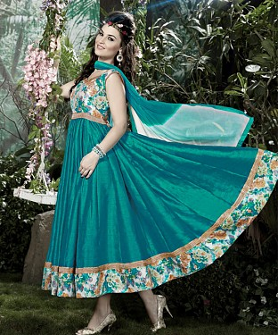 THANKAR AQUA BANGLORI SILK WITH BHAGLPURI PRINT ANARKALI SUIT @ Rs1730.00