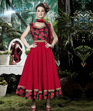 THANKAR RED BANGLORI SILK WITH BHAGLPURI PRINT ANARKALI SUIT @ Rs1730.00