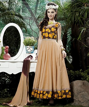 THANKAR CREAM BANGLORI SILK WITH BHAGLPURI PRINT ANARKALI SUIT @ Rs1730.00