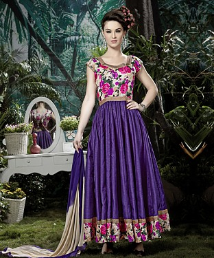 THANKAR PURPLE BANGLORI SILK WITH BHAGLPURI PRINT ANARKALI SUIT @ Rs1730.00