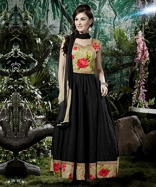 THANKAR BLACK BANGLORI SILK WITH BHAGLPURI PRINT ANARKALI SUIT @ Rs1730.00