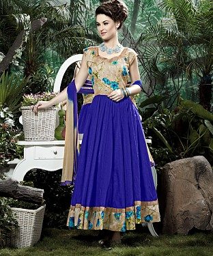 THANKAR BLUE BANGLORI SILK WITH BHAGLPURI PRINT ANARKALI SUIT @ Rs1730.00