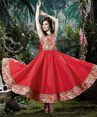 THANKAR LIGHT RED BANGLORI SILK WITH BHAGLPURI PRINT ANARKALI SUIT @ Rs1730.00