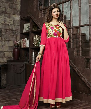 THANKAR AYESHA TAKIYA LIGHT PINK GEORGETTE WITH BHAGLPURI PRINT ANARKALI SUIT @ Rs864.00