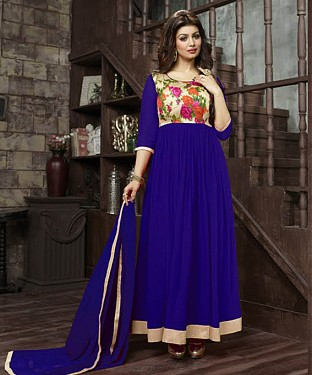 THANKAR AYESHA TAKIYA BLUE GEORGETTE WITH BHAGLPURI PRINT ANARKALI SUIT @ Rs864.00