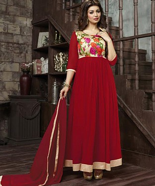 THANKAR AYESHA TAKIYA RED GEORGETTE WITH BHAGLPURI PRINT ANARKALI SUIT @ Rs864.00