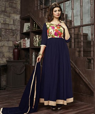 THANKAR AYESHA TAKIYA NAVY GEORGETTE WITH BHAGLPURI PRINT ANARKALI SUIT @ Rs864.00
