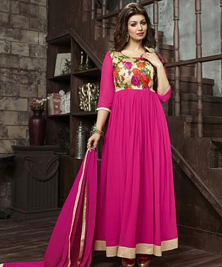THANKAR AYESHA TAKIYA PINK GEORGETTE WITH BHAGLPURI PRINT ANARKALI SUIT @ Rs864.00