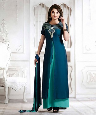 THANKAR LATEST DESIGNER NAVY & SKY LONG SLEEVE ANARKALI SUIT @ Rs1235.00