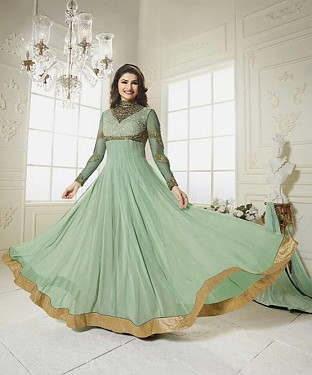 THANKAR LATEST DESIGNER PARROT LONG SLEEVE ANARKALI SUIT @ Rs1853.00