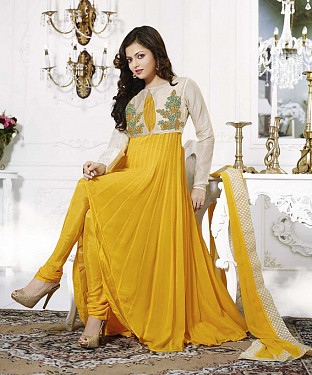 THANKAR LATEST DESIGNER YELLOW AND OFF WHITE LONG SLEEVE ANARKALI SUIT @ Rs1482.00