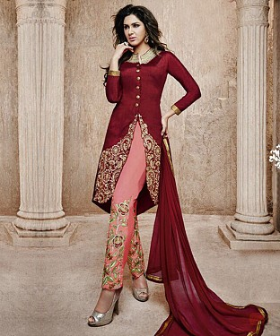 THANKAR MAROON BANGLORI SILK STRAIGHT SUIT @ Rs1606.00