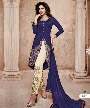 THANKAR BLUE AND WHITE BANGLORI SILK STRAIGHT SUIT @ Rs1606.00
