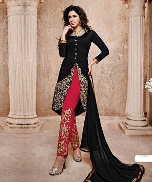 THANKAR BLACK AND PINK BANGLORI SILK STRAIGHT SUIT @ Rs1606.00