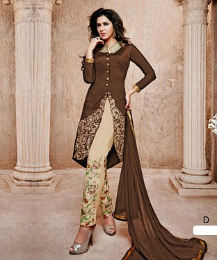 THANKAR BROWN AND OFF WHITE BANGLORI SILK STRAIGHT SUIT @ Rs1606.00