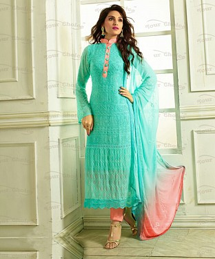 THANKAR SKY AND PINK CHIFFON PARTY WEAR STRAIGHT SUIT @ Rs1112.00