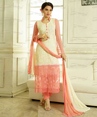 THANKAR WHITE AND PEACH CHIFFON PARTY WEAR STRAIGHT SUIT @ Rs1112.00